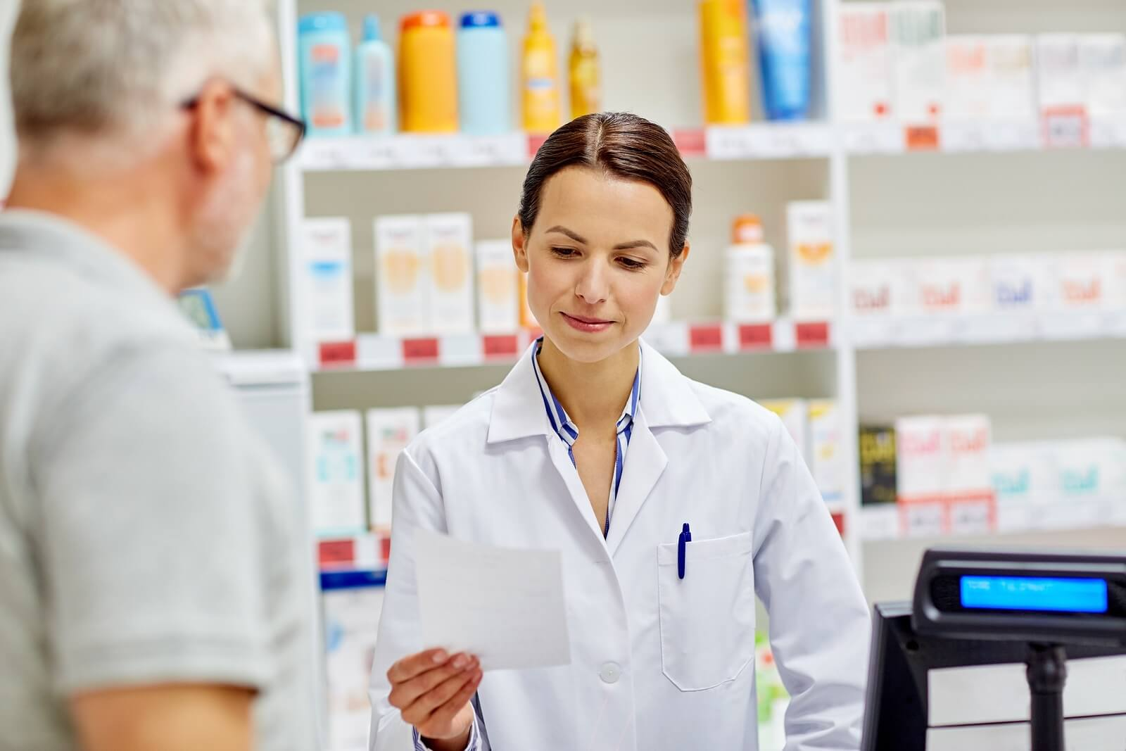 Pharmacist receiving perscription